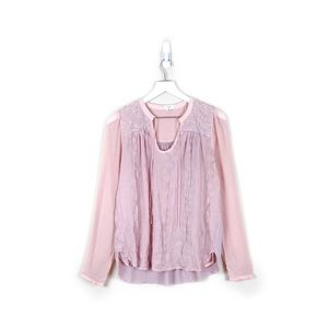 Tiny | Embroidered Split-Neck Top in Pink